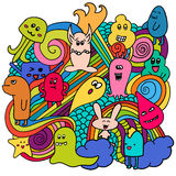 Funny monsters graffiti. Hand drawn sketch art. Doodle vector illustration. Stock Photography
