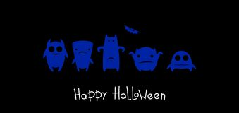 Funny monsters halloween. Blue monsters on black background royalty free illustration