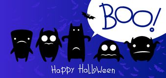 Funny monsters halloween card Royalty Free Stock Image