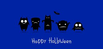 Funny monsters halloween card. Black monsters on blue background royalty free illustration