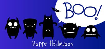Funny monsters halloween card. Black monsters on blue background vector illustration