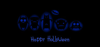 Funny monsters halloween card. Black monsters with blue glow vector illustration