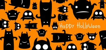 Funny monsters halloween card Royalty Free Stock Photos