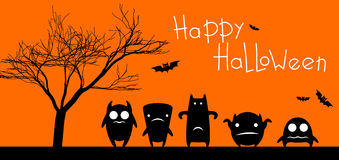 Funny monsters halloween card Stock Photo