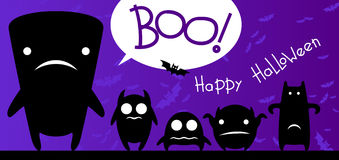 Funny monsters halloween card Stock Images
