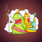Funny monsters for Happy New Year celebration. Stock Images