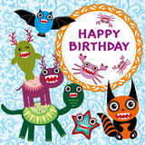Funny monsters party card design. Royalty Free Stock Image