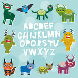 Funny monsters party card design. alphabet  from A to Z. Vector Stock Photos