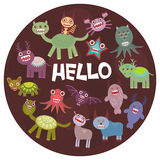 Funny monsters party card design on  dark background in the circle. Vector Stock Photo