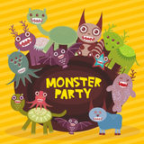 Funny monsters party card design on yellow striped background. Vector Stock Images
