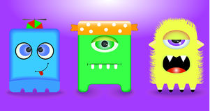 Funny monsters. 3 pieces. Royalty Free Stock Photos