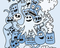 Funny monsters seamless pattern. In blue colours Royalty Free Stock Photo