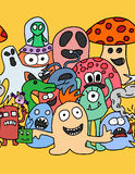 Funny monsters seamless pattern. In bright colours Royalty Free Stock Images