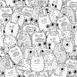 Funny monsters seamless pattern for coloring book. Black and white background. Vector illustration Stock Photo