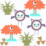 Funny monsters seamless pattern. It is located in swatch menu, v. Ector  illustration Stock Photos