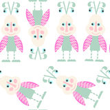 Funny  monsters seamless pattern and seamless pattern in swatch Royalty Free Stock Photos