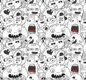 Funny monsters seamless vector pattern. In black and white colours Stock Photos