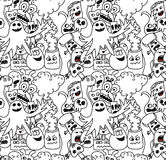 Funny monsters seamless vector pattern. In black and white colours Stock Photography
