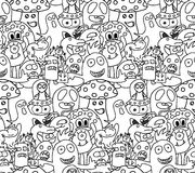 Funny monsters seamless vector pattern. In black and white colours Stock Photo