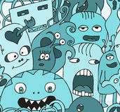 Funny monsters seamless vector pattern. In blue colours Royalty Free Stock Photos