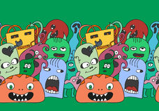 Funny monsters seamless vector pattern. Border in bright colours Stock Image