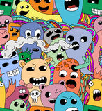 Funny monsters seamless vector pattern. In bright colours Royalty Free Stock Image