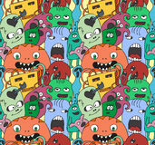 Funny monsters seamless vector pattern. In bright colours Stock Photos
