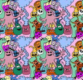 Funny monsters seamless vector pattern. In bright colours Royalty Free Stock Photography