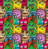 Funny monsters seamless vector pattern. In bright colours Royalty Free Stock Photo