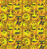 Funny monsters seamless vector pattern. In gold colours Royalty Free Stock Photos