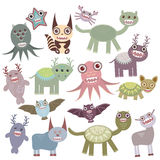 Funny monsters set Big collection on white background. Vector. Illustration Royalty Free Stock Photos