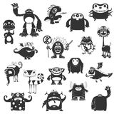 Funny Monsters Silhouette Stock Images