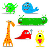 Funny monsters. Six fun good multi-colored monsters Royalty Free Stock Images