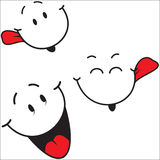 3 Funny mood icons. Illustration of three funny smileys on white background Royalty Free Stock Photography