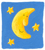 Funny Moon and the stars on the blue background Stock Image