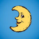 Funny moon. Vector drawing Royalty Free Stock Images