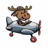 Funny moose aviator. Vector illustration vector illustration