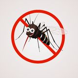 Funny mosquito with teeth on the background of the prohibition sign. royalty free illustration