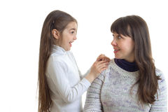 Funny mother with her little daughter laughing Stock Image