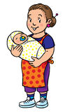 Funny mother or nanny with baby. Coloring book. Stock Photos