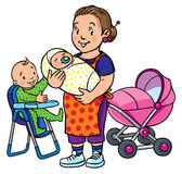 Funny mother or nanny with children. Children vector illustration of funny smiling woman, mother or nanny with a baby and another one on the highchair near the Stock Photo