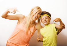 Funny mother and son with bubble gum Stock Image