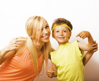 Funny mother and son with bubble gum Stock Photo
