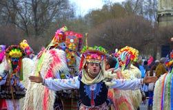Funny motley mummers Royalty Free Stock Photo