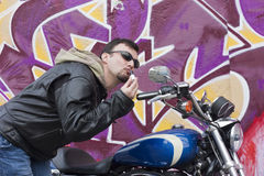 Funny Motorcycle Man Stock Photography