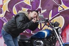 Funny Motorcycle Man Stock Photos