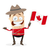Funny mountie with canadian flag Stock Photography