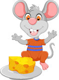 Funny mouse cartoon eating cheese Stock Photos