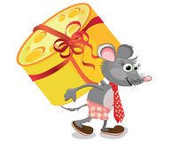 Funny mouse with cheese Stock Images