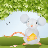 Funny mouse with cheese Royalty Free Stock Images